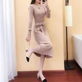 連衣裙洋裝女秋冬新款釘珠寬鬆針織長款毛衣裙過膝打底裙加厚長裙『快速出貨』