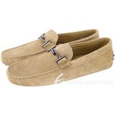 TOD'S Double T 金屬設計麂皮豆豆樂褔鞋(男鞋/卡其色) 1740458-28