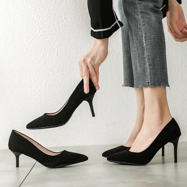 工作鞋女黑色面試上班正裝尖頭高跟鞋細跟空乘皮鞋春款單鞋 智慧e家