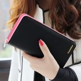 韓版愛心拉鍊簡約皮夾手拿包 撞色 時尚女長夾(現貨)AngelNaNa(SMA0133)