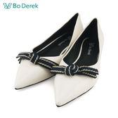 【Bo Derek 】平結造型尖頭平底鞋-白