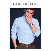 DW手錶 40mm銀框 Classic 紅棕真皮皮革  - Daniel Wellington