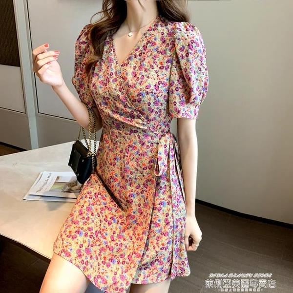 雪紡洋裝 2021夏季新款韓版收腰顯瘦雪紡短裙小碎花系帶不規則氣質連身裙女 【618 狂歡】