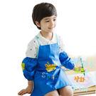 半島良品★可愛長頸鹿卡通造型防水防髒環保罩衣畫畫衣-深藍色