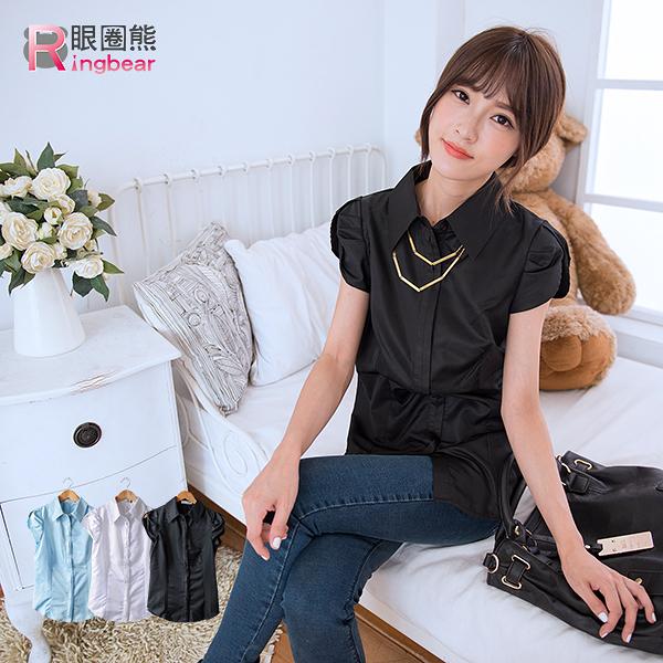 韓版--甜姐兒魅力花苞袖隱藏釦素面襯衫(白.黑.藍S-3L)-H141眼圈熊中大尺碼