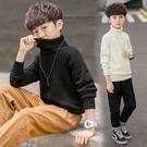 休閒男孩長袖韓版毛衣 男寶寶毛衣套頭衫上衣 男童秋冬潮流洋氣打底衫 純色高領男中大童針織衫