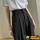 大碼西裝褲女夏寬鬆寬版直筒闊腿九分褲【happybee】