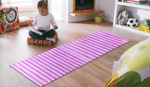 范登伯格 彩之舞 漸層條紋厚蓬地毯-粉31-50x80cm