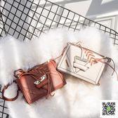 新款包包 新款時尚百搭女包單肩斜背包/側背包包撞色編織小方包 聖誕慶免運