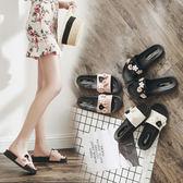 雙11秒殺★拖鞋女時尚女士一字拖平底花朵沙灘鞋外穿高跟厚底涼拖鞋夏季女鞋