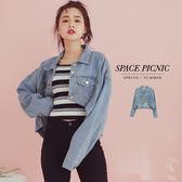 單寧 外套 Space Picnic|四邊口袋設計短版單寧外套(現+預)【C19033070】