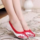 新款老北京布鞋女牛筋底中國風繡花鞋子民族風內增高女鞋漢服鞋子 格蘭小舖