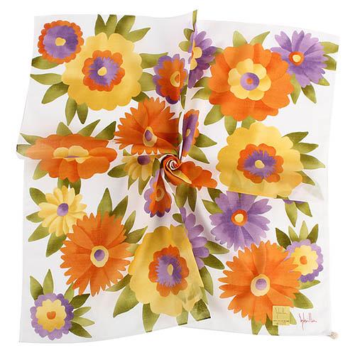 Sybilla 大花花朵圖案純綿帕領巾(橙色)989164-94