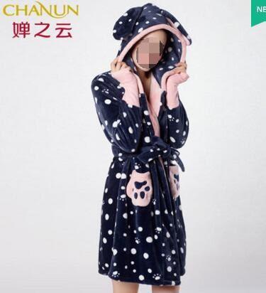 幸福居*婵之雲17秋冬新款女士珊瑚絨睡袍D710335