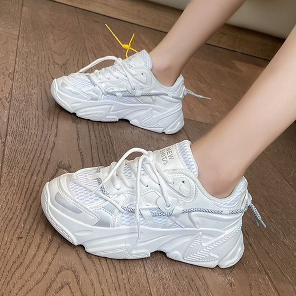 X-INGCHI 女款白色增高運動休閒鞋-NO.X0392