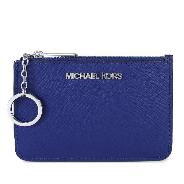 MICHAEL KORS 銀字LOGO防刮皮革卡片夾層鑰匙零錢包(寶藍色)-35F7STVU1L