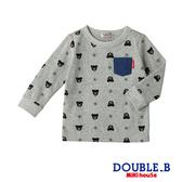 DOUBLE_B 經典黑熊印花長袖T恤(灰)