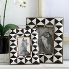 收獲小屋出口美國黑白幾何PU皮復古鑲金邊相架相框4寸6寸擺件飾品 阿卡娜