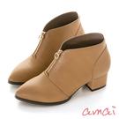amai 美型交叉V口踝靴(低跟版) 棕...