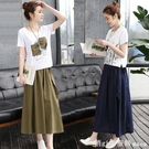 短袖裙裝 2021夏裝新款時髦顯瘦棉麻洋...