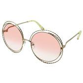 【Chloe' 蔻依】CE114ST-724-大圓框熱銷款太陽眼鏡(金框漸層粉鏡面)