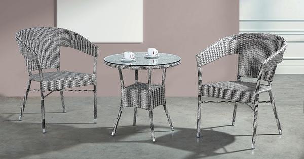 【南洋風休閒傢俱】戶外休閒桌椅系列-灰藤休閒圓桌椅組 戶外餐桌椅CX901-3 CX901-4)