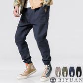 【OBIYUAN】休閒長褲 素面 有加大尺碼 鬆緊抽繩 束口 工作褲 共4色【F10917】