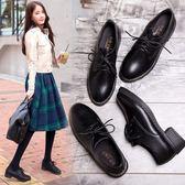 秋冬季新款英倫復古風黑色小皮鞋百搭加絨單鞋女平底厚底女鞋春季