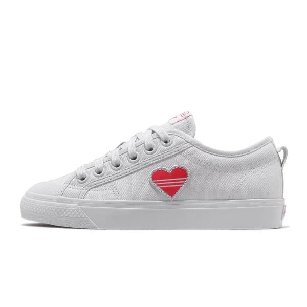 adidas 休閒鞋 Nizza Trefoil W 白 紅 愛心 情人節 女鞋 小白鞋 【ACS】 EF5074