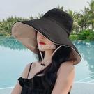 沙灘帽 漁夫帽子女遮臉遮陽大檐帽韓版百搭黑色女士防曬雙面戴日系太陽帽