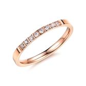 316L醫療鋼 排鑽 白水晶 戒指尾戒-玫瑰金 防抗過敏 不退色