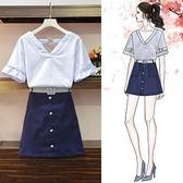 工廠批發不退換T恤 短裙XL-5XL中大尺碼33613夏季新款女上衣半身裙兩件套胖妹妹顯瘦套裝
