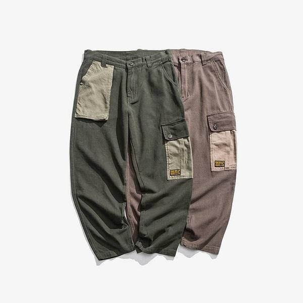 FINDSENSE G6 韓國時尚 日系復古工裝褲男女同款軍綠色撞色寬鬆直筒褲休