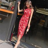 夏季正韓女裝氣質掛脖無袖修身顯瘦定制印花不規則洋裝