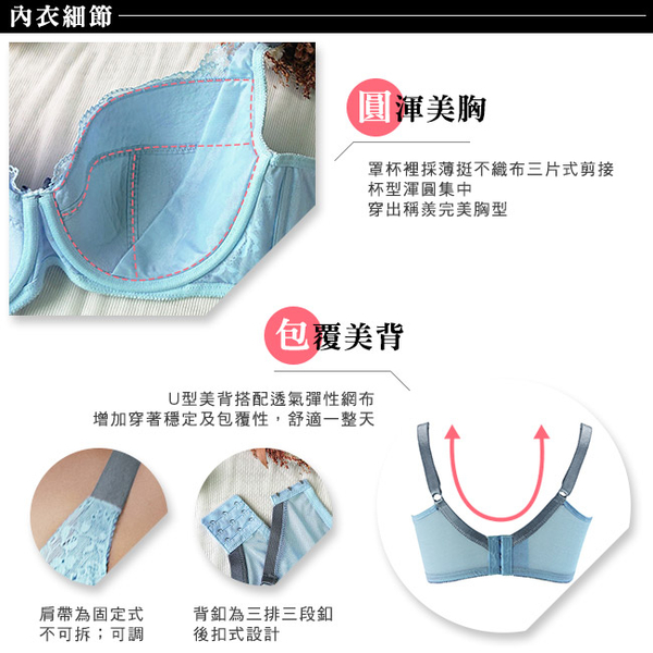 EASY SHOP-手沖日光 大罩杯E-F罩內衣(晴空藍)
