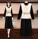 兩件式洋裝2020冬大碼女裝L-4XL洋氣減齡水貂絨馬甲金絲絨連身裙兩件套3F010-C.9878 1號公館