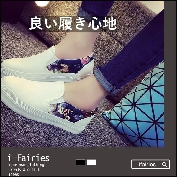5天出貨★一腳蹬懶人鞋厚底鬆糕套腳帆布鞋★ifairies【24662】