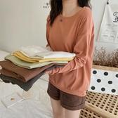 早春基礎款洋氣百搭女式圓領純色可打底棉質舒適長袖T恤交換禮 【快速出貨】