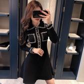 小香風洋裝 長袖小黑裙法式復古氣質收腰顯瘦針織赫本風初連衣裙小香風 - 雙十二交換禮物