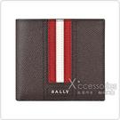 BALLY Trasai金屬LOGO紅白紅條紋設計牛皮8卡對折短夾(褐)