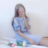 一字領洋裝夏季女裝學生寬鬆裙子少女短袖小清新一字肩連身裙潮 愛麗絲精品