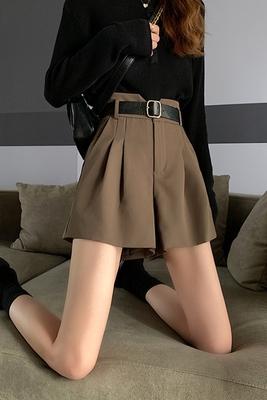 西裝褲 高腰短褲 M-2XL 運動短褲女ins潮bf風休閑學生西裝垂感五分A字闊腿褲R028.胖丫