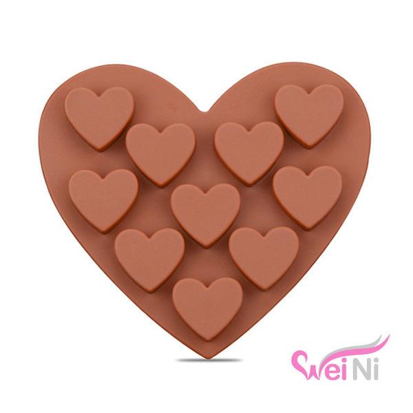 wei-ni 矽膠模 愛心造型 10連 蛋糕模 矽膠模具 巧克力模型 冰塊模型 製冰盒 餅乾模具 情人節