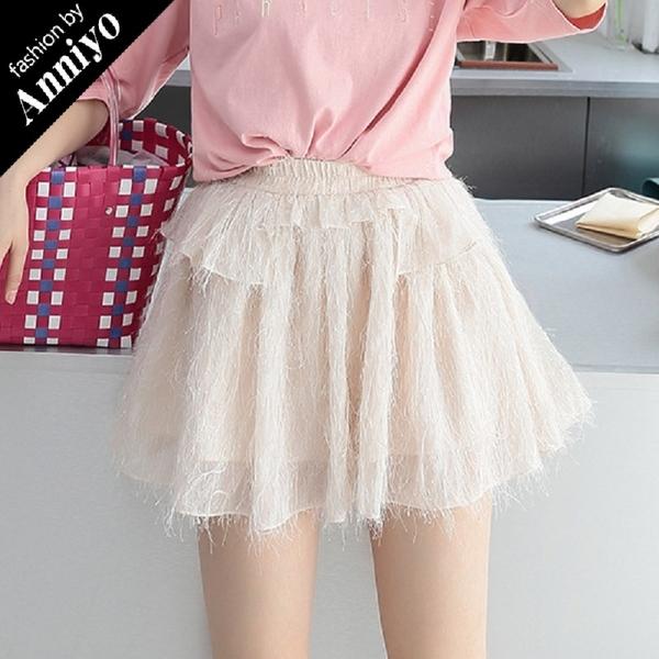 Anniyo安妞‧春夏韓版質感氣質純色顯瘦荷葉邊蛋糕裙短裙雪紡流蘇裙 杏色