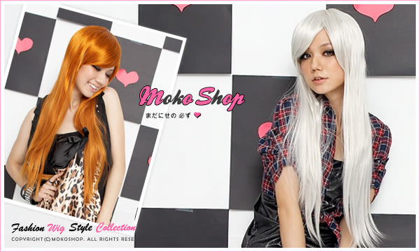 *MokoShop假髮專賣店*Cosplay動漫造型特殊色斜劉海長直髮全頂假髮【LY584B】
