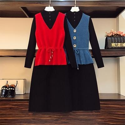 洋裝連身裙大碼女裝秋冬胖mm仿金貂絨馬甲針織中長款打底連身裙兩件套裝F4097韓衣裳