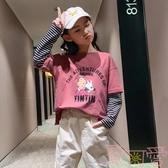 女童打底衫長袖T恤休閒假兩件純棉寬松上衣秋裝【聚可愛】