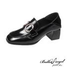 樂福鞋 復刻時尚雙金屬釦2WAY跟鞋(黑)*BalletAngel【18-C-3bk】【現+預】
