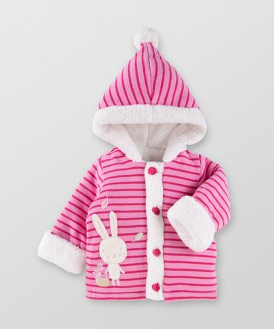 Hallmark Babies 女嬰秋冬純棉條紋連帽長袖外套 HD3-E05-04-BG-MS