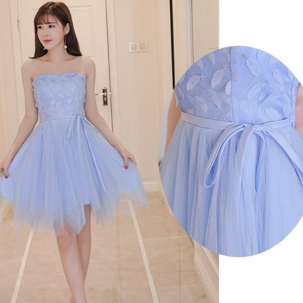 天藍色伴娘服短款蓬蓬小禮服連衣裙伴娘禮服生日宴會